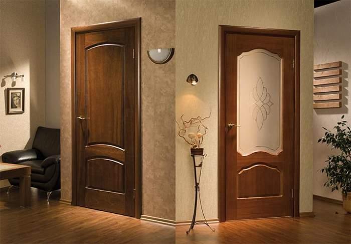 Межкомнатные двери из натурального дерева: виды декора