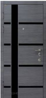 Conex модель 72 венге серый горизонт артель+ черное стекло, внутри мод 73 супермат белый + черное стекло - Входные двери