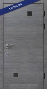 Модель 66. МДФ. Дуб английский (декор чёрное стекло) - Входные двери