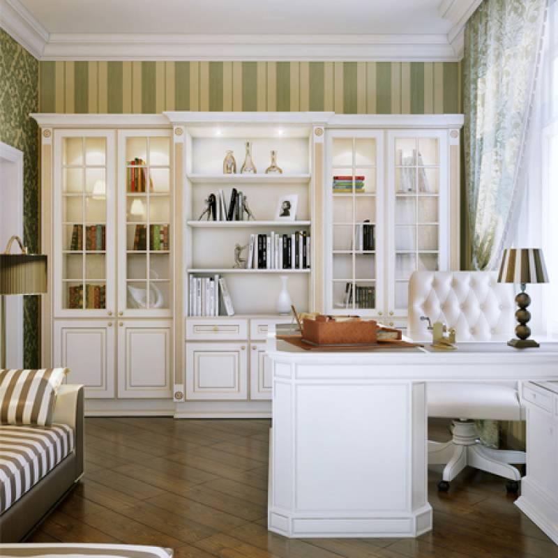 фото кабинет с белой мебелью двое суток дома