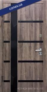 Модель 72. МДФ. Дуб орион тёмный (вставки стекло) - Вхідні двері